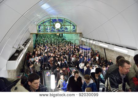 ST. PETERSBURG, RUSSIA - MAY 9, 2015: Crowd in the subway station Admiralteyskaya going to watch the parade dedicated to the Victory in WWII. The station working only for exit but it was overloaded