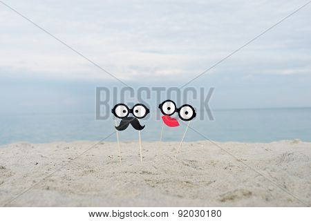 False mustache, funny glasses