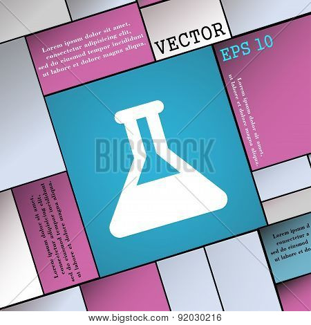 Conical Flask Icon Sign. Modern Flat Style For Your Design. Vector