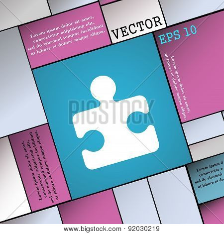 Puzzle Piece Icon Sign. Modern Flat Style For Your Design. Vector