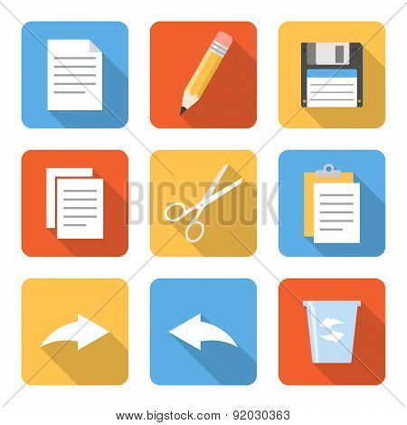 Flat File Operation Icons With Long Shadows. Vector Illustration