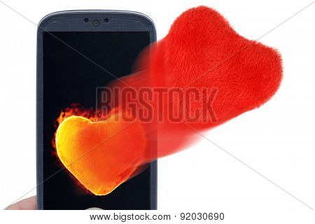 Blue smartphone and hot and soft hearts. Idea for Valentines Day messages, love, lovers, love apps, Internet, blogs and others.