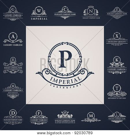 Luxury vintage logos set. Calligraphic letter elements