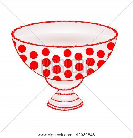 Bowl Of Fruit With Red Dots  Vector