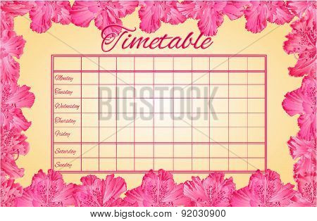 Timetable Weekly Schedule With Rhododendron Vector