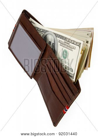 American banknotes in wallet on plain background