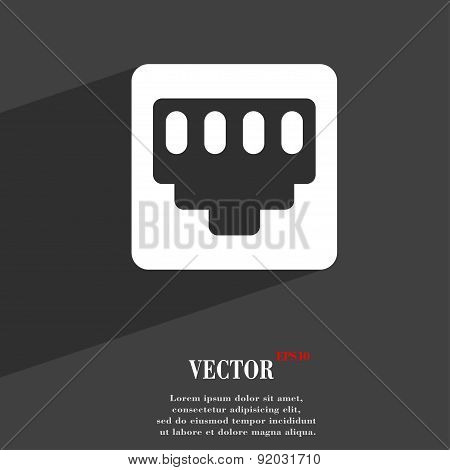 Cable Rj45, Patch Cord Icon Symbol Flat Modern Web Design With Long Shadow And Space For Your Text.
