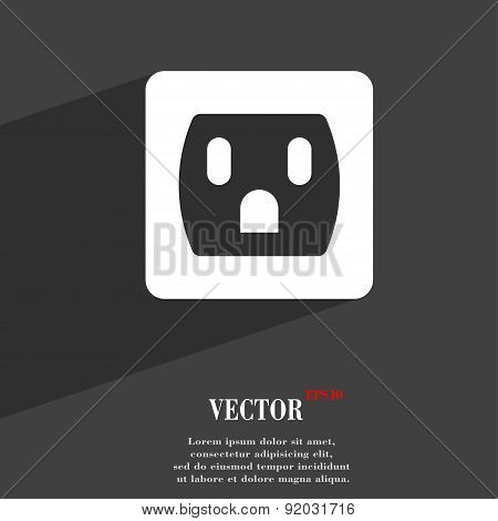 Electric Plug, Power Energy Icon Symbol Flat Modern Web Design With Long Shadow And Space For Your T