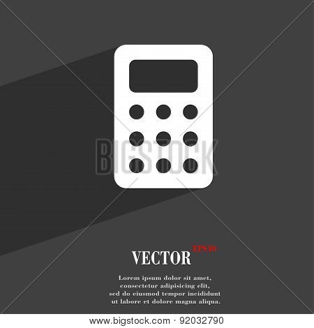 Calculator, Bookkeeping Icon Symbol Flat Modern Web Design With Long Shadow And Space For Your Text.