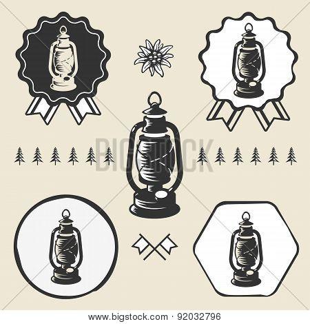 Kerosene lamp lantern vintage symbol emblem label collection