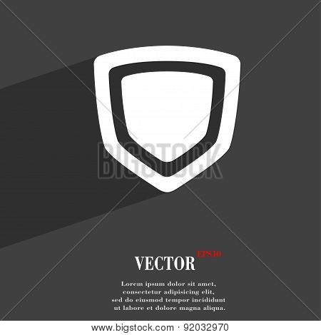 Shield Icon Symbol Flat Modern Web Design With Long Shadow And Space For Your Text. Vector