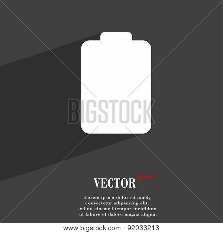Battery Empty, Low Electricity Icon Symbol Flat Modern Web Design With Long Shadow And Space For You