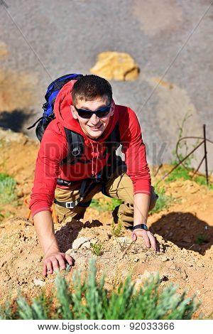 Rock Climber Climbs On Rock