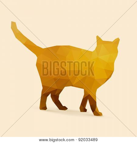 Cat Polygon Golden Silhouette