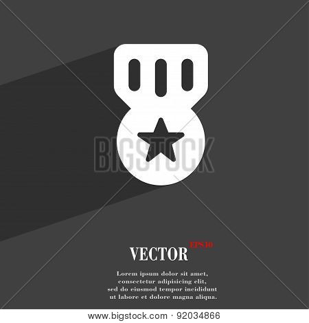 Award, Medal Of Honor Icon Symbol Flat Modern Web Design With Long Shadow And Space For Your Text. V