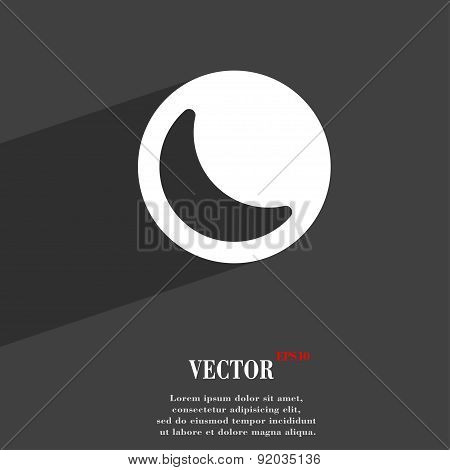 Moon Icon Symbol Flat Modern Web Design With Long Shadow And Space For Your Text. Vector