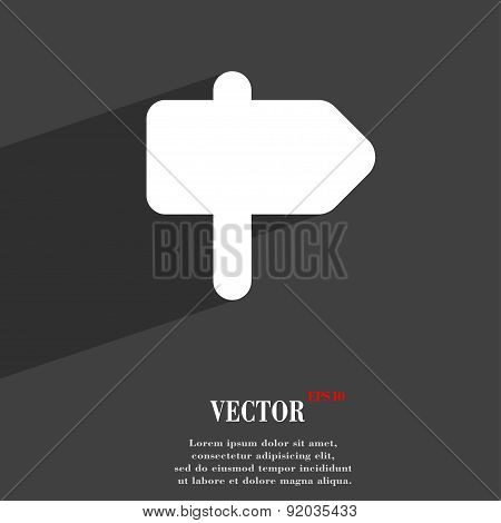Information Road Icon Symbol Flat Modern Web Design With Long Shadow And Space For Your Text. Vector