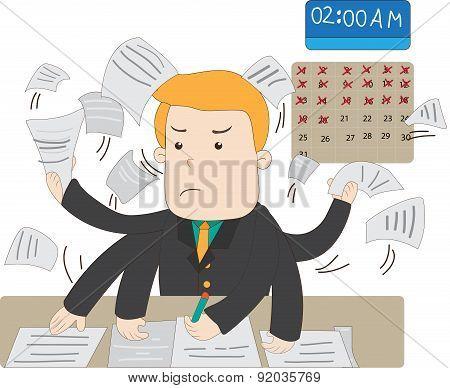 A Cartoon Salary Office Worker Is Busy Working Overtime With Huge Workload On His Hands With Stress