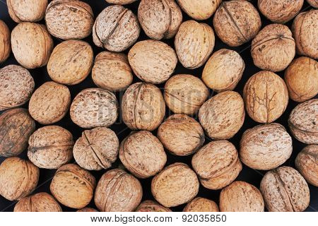 walnut background, close-up