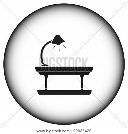 Round Icon With Table Lamp