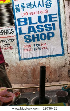 Blue Lassi Shop In Old City Of Varanasi