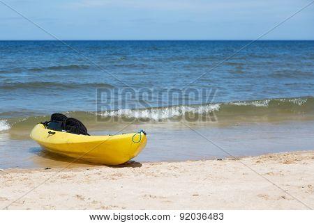 Yellow two seat kayak
