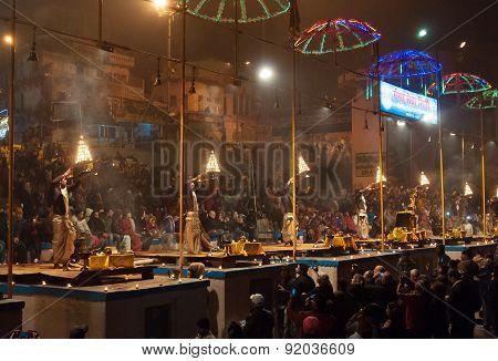 Indian Priests Performs Religious Ganga Aarti Ceremony At Dashashwamedh Ghat In Varanasi. Uttar Prad