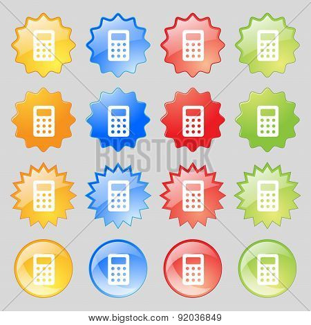 Calculator, Bookkeeping Icon Sign. Set From Sixteen Multi-colored Glass Buttons With Place For Text.