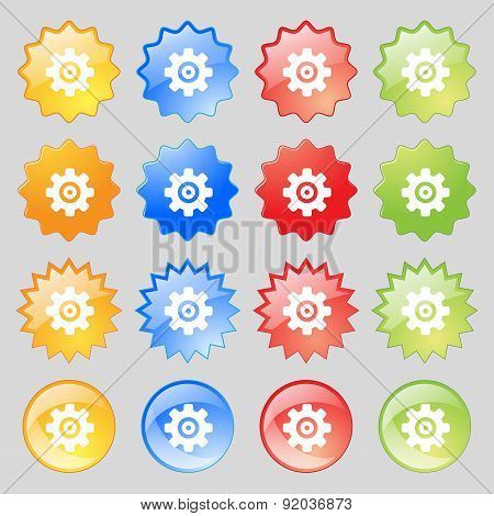 Cog Settings, Cogwheel Gear Mechanism Icon Sign. Set From Sixteen Multi-colored Glass Buttons With P