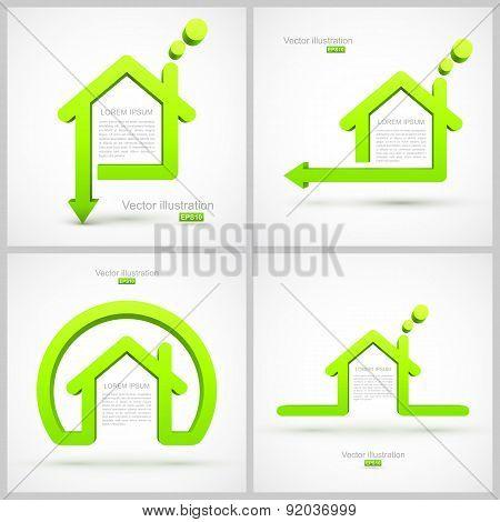 Set of green house symbols
