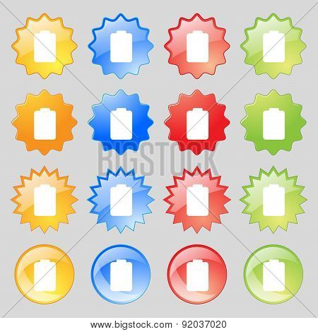 Battery Empty, Low Electricity Icon Sign. Set From Sixteen Multi-colored Glass Buttons With Place Fo