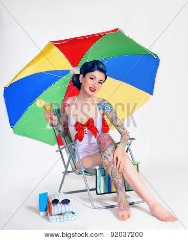 girl drinks champagne retro