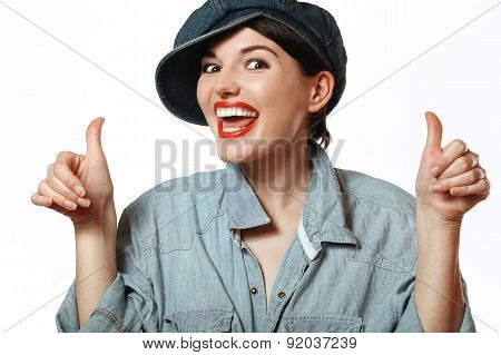 Woman In A Cap And Shirt. Denim.