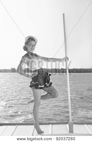 girl on ship in retro style