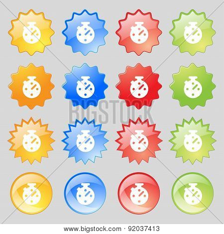 Timer, Stopwatch Icon Sign. Set From Sixteen Multi-colored Glass Buttons With Place For Text. Vector
