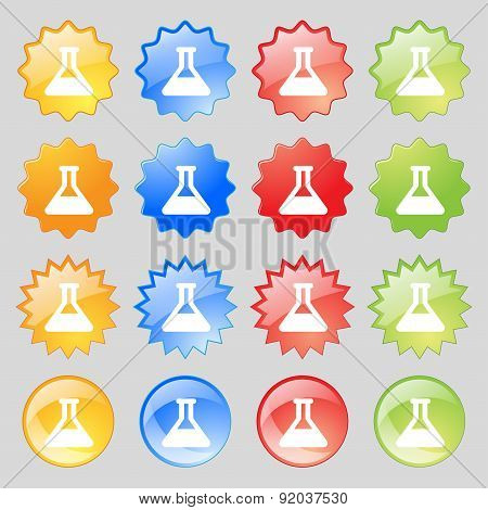 Conical Flask Icon Sign. Set From Sixteen Multi-colored Glass Buttons With Place For Text. Vector