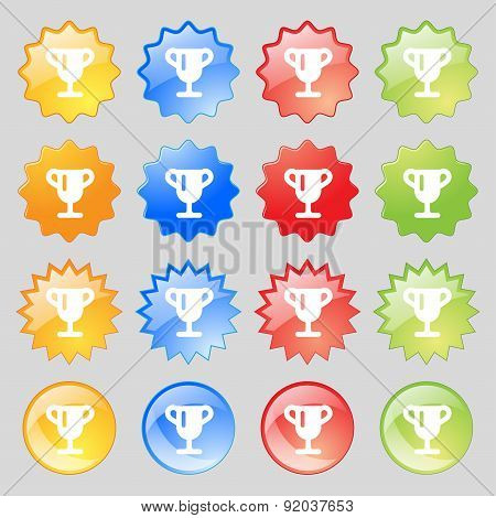 Winner Cup, Awarding Of Winners, Trophy Icon Sign. Set From Sixteen Multi-colored Glass Buttons With