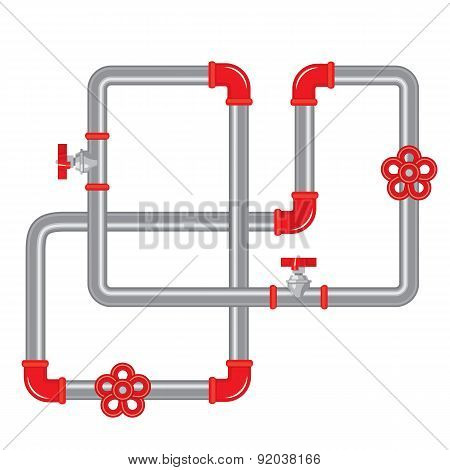 Abstract Pipeline Shape - Colorful Vector Illustration