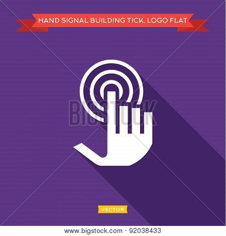 Hand tick presses and receives the signal as an antenna, wave flat strong vector logtip
