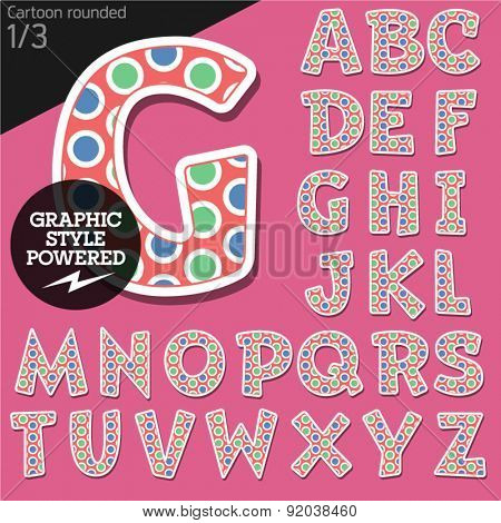 Vector children alphabet set in original candy style. File contains graphic styles available in Illustrator. Uppercase letters