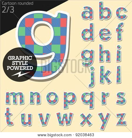 Vector children alphabet set in colorful square style. File contains graphic styles available in Illustrator. Lowercase letters