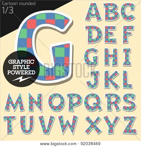 Vector children alphabet set in colorful square style. File contains graphic styles available in Illustrator. Uppercase letters