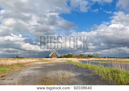 Charming Windmill Bu River And Cblue Sky With Clouds