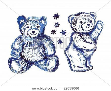 Sitting  & Standing Couple Bears Pattern