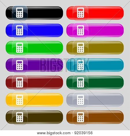 Calculator, Bookkeeping Icon Sign. Set From Fourteen Multi-colored Glass Buttons With Place For Text