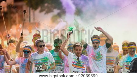 Prague, CZECH REPUBLIC - MAY 30, 2015: Prague color run 2015. People from all walks of life participated in the run of first year of Prague Color Run.
