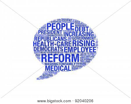 Bubble Shaped Health Care Reform Word Cloud