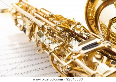 Saxophone with detailed keys view and part of bell
