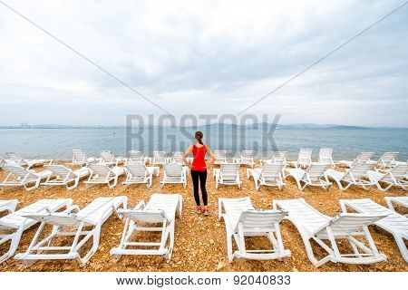 Sport woman on the beach