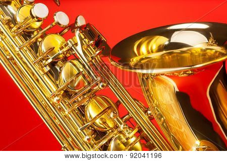 Close-up view of alto saxophone with bell and keys